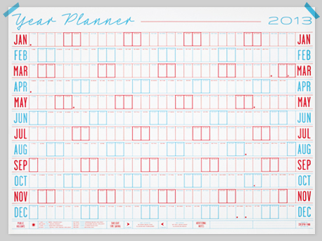 Present & Correct 2013 wall planner