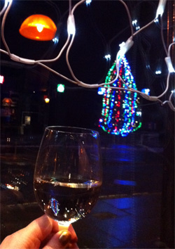 A festive glass of wine