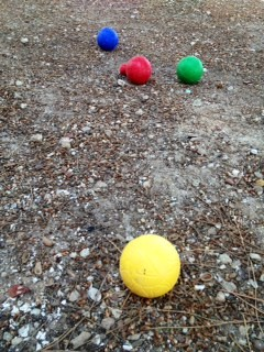 Playing bocce in the dirt