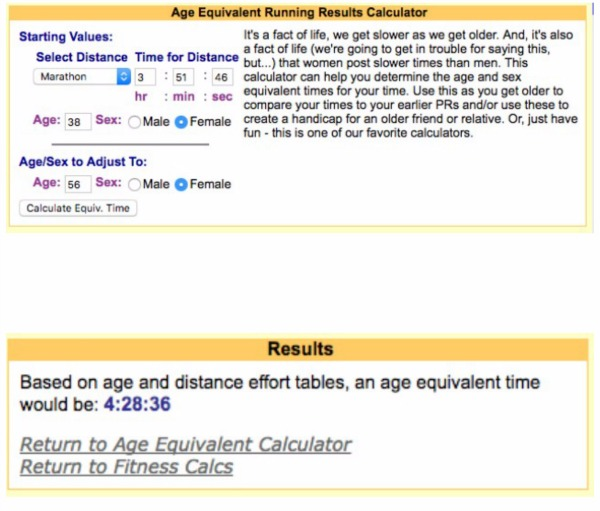 Age equivalent calculator