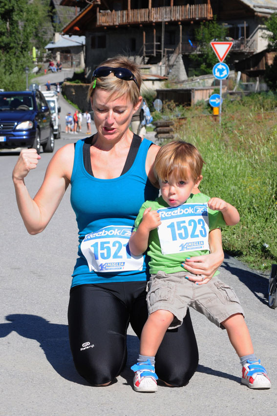Nico and her son Teo, after her first 5K race