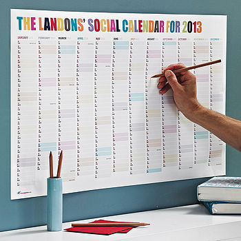 Personalised Social Calendar by Rosie Robins
