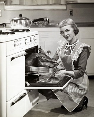 Retro lady and her delicious turkey