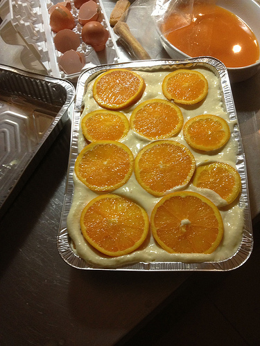 Orange tiramisu in progress